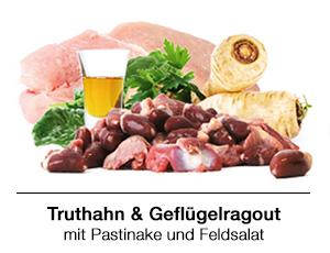 BARF Rezept für Hunde: Truthahnfleisch und Geflügelragout